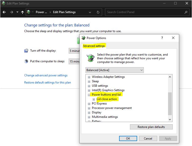 Power options windows laptop
