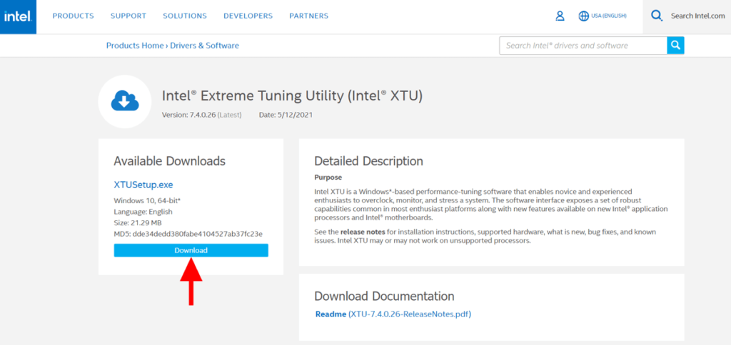 Intel extrema tuning utility download page