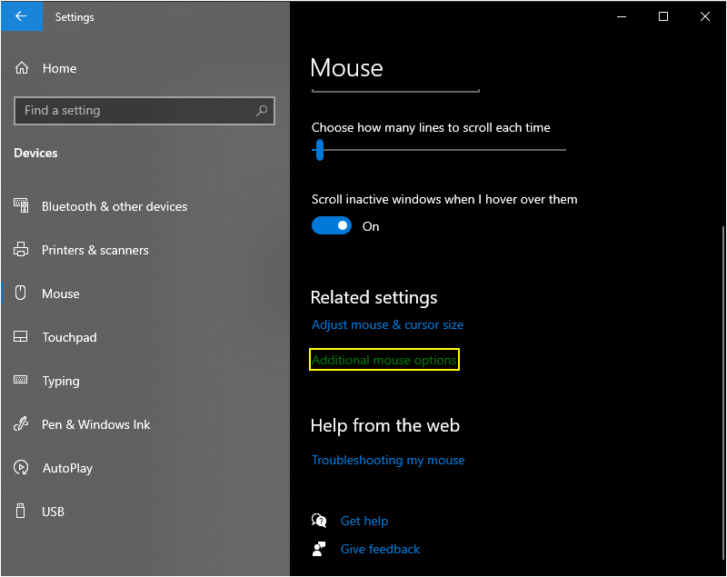 Mouse settings windows 10