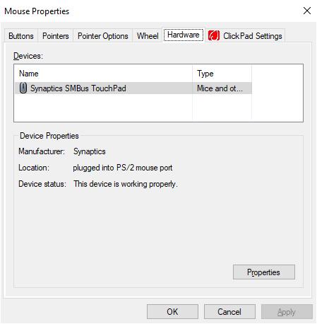 Laptop mouse properties