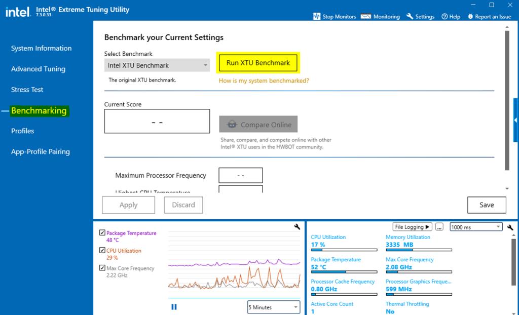 Intel extrema tuning utility benchmarking