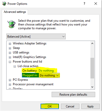 Power options lid settings don nothing