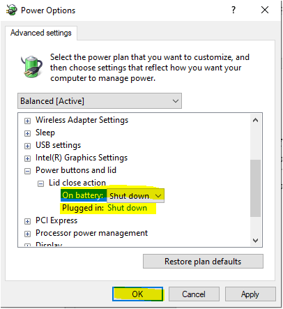 Power options lid settings shut down