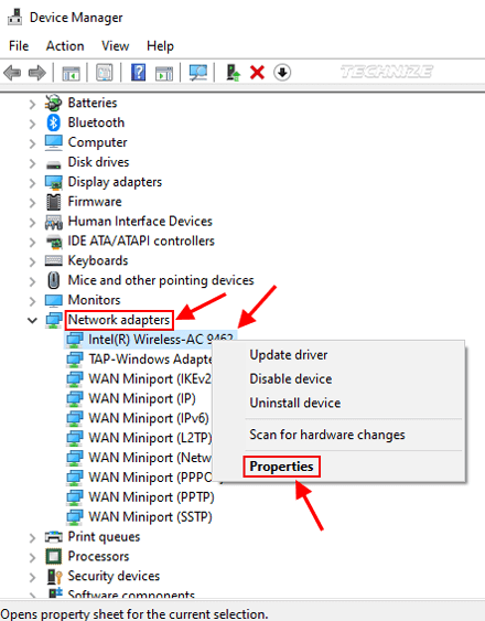 Windows device manager network adapter