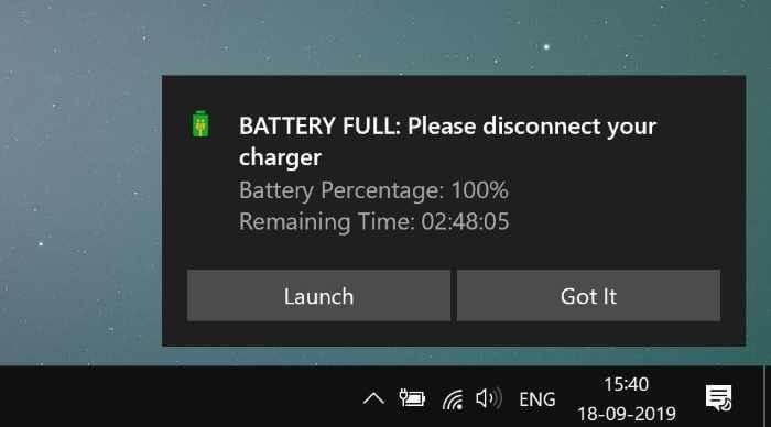 laptop battery full