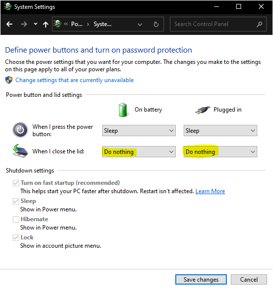 Windows laptop lid settings do nothing