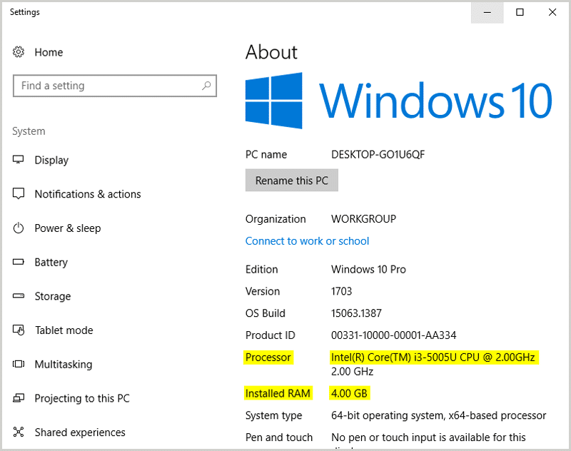 About Your PC Windows 10
