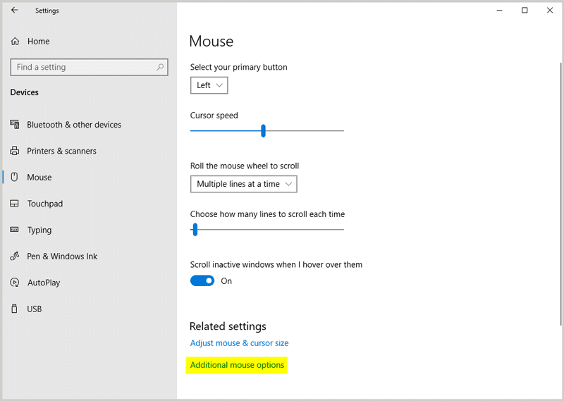 Additional mouse options