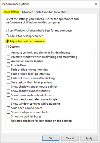 Adjust for best performance Windows