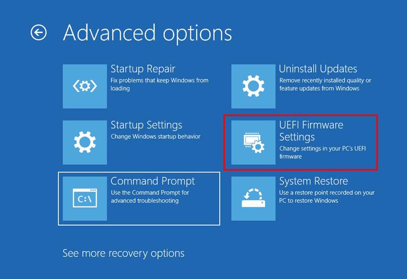 Advanced startup options windows 10