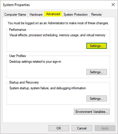 Advanced system settings Performance