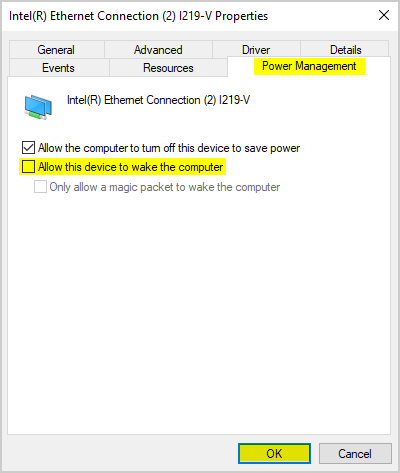 Allow LAN device to wake the computer