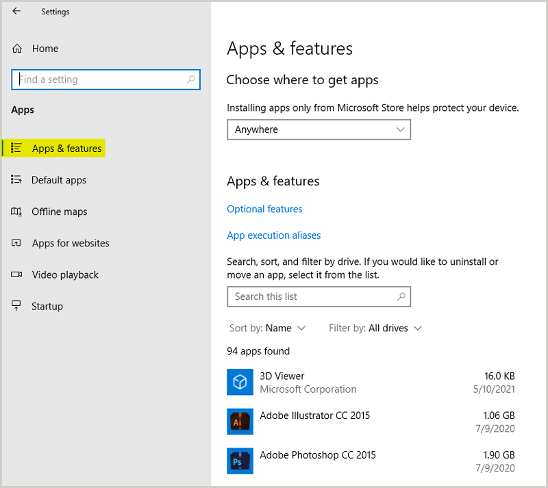 Apps and Features Windows 10