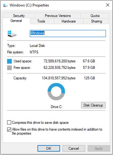 C drive storage properties