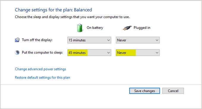 Change power settings windows 10