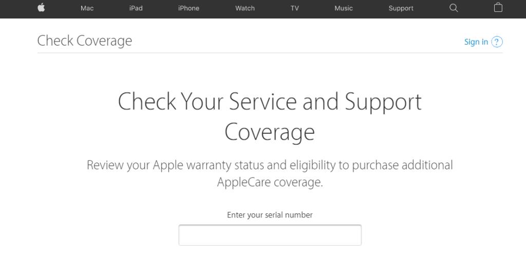 Check coverage apple