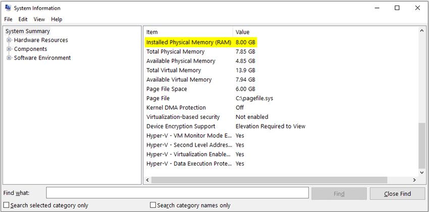 Check installed RAM