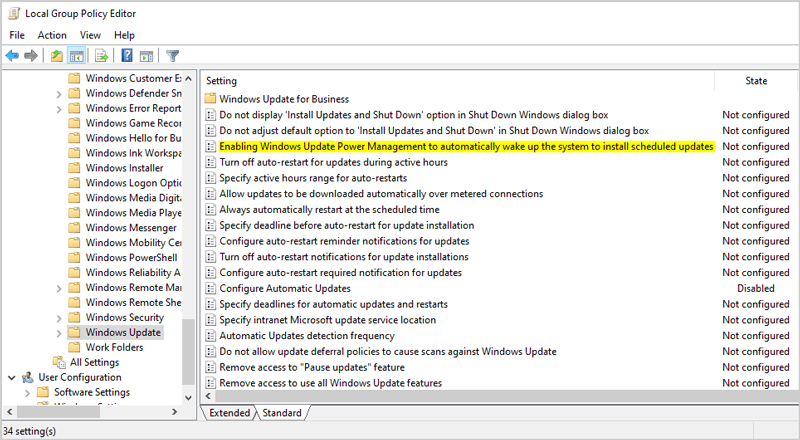 Computer Configuration Administrative Templates Windows Components Windows Updates