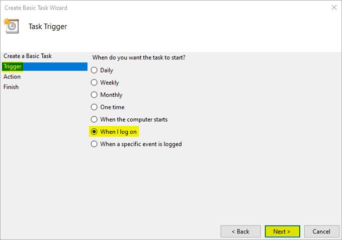 Create basic task Trigger When I log on