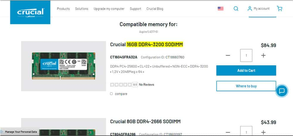 Crucial compatible memory