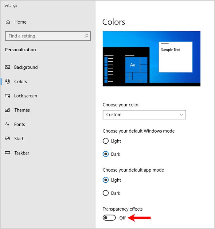 Desktop personalization color settings