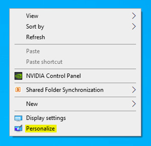 Desktop right click personalize