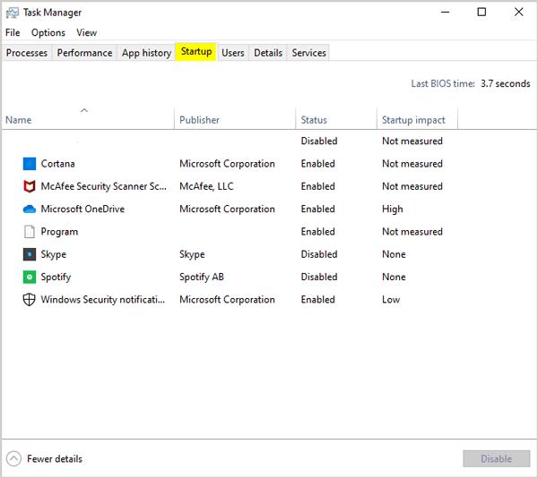 Disable some Startup Programs Windows
