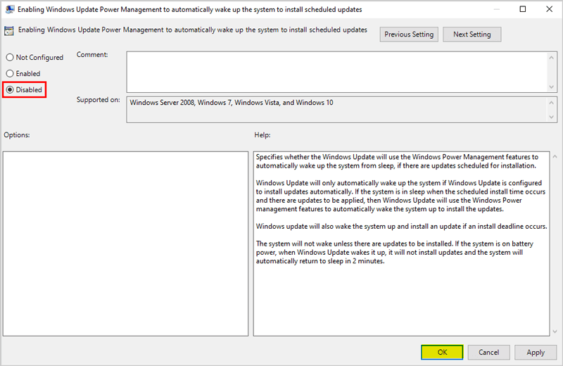 Enabling Windows Update Power Management to automatically wake up the system to install scheduled updates