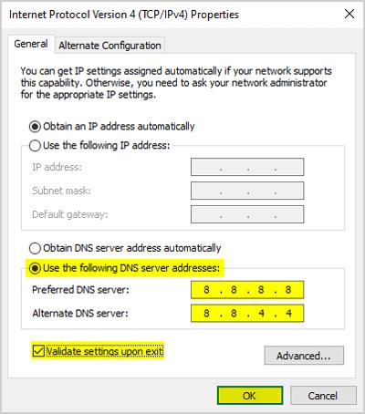 IPv4 dns server address settings