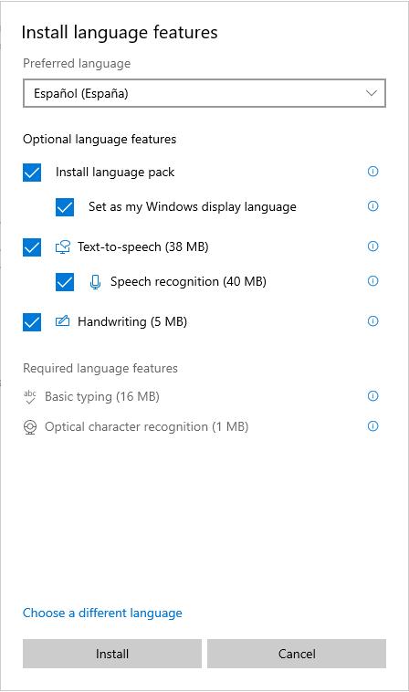 Installing language packs Windows 10