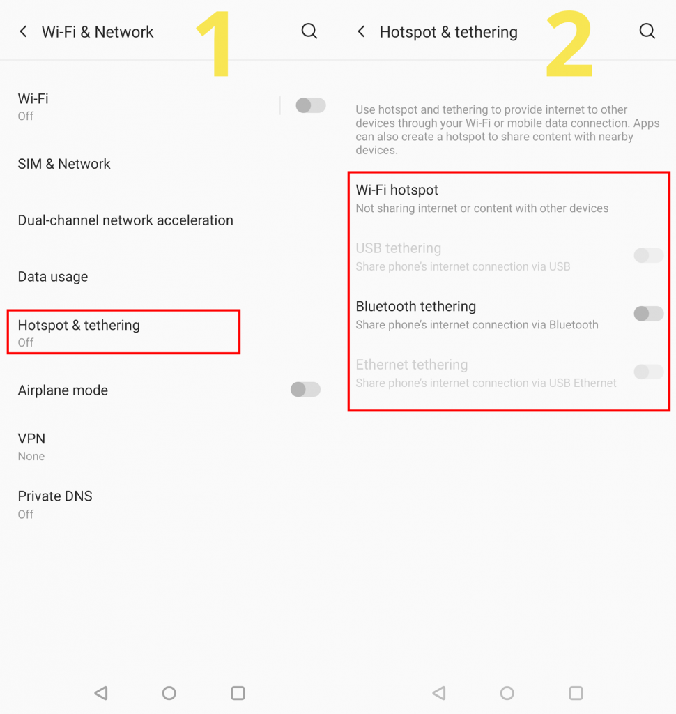 Mobile tethering settings