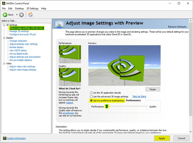 Nvidia settings Use my preference emphasizing