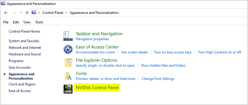 Opening Nvidia control panel