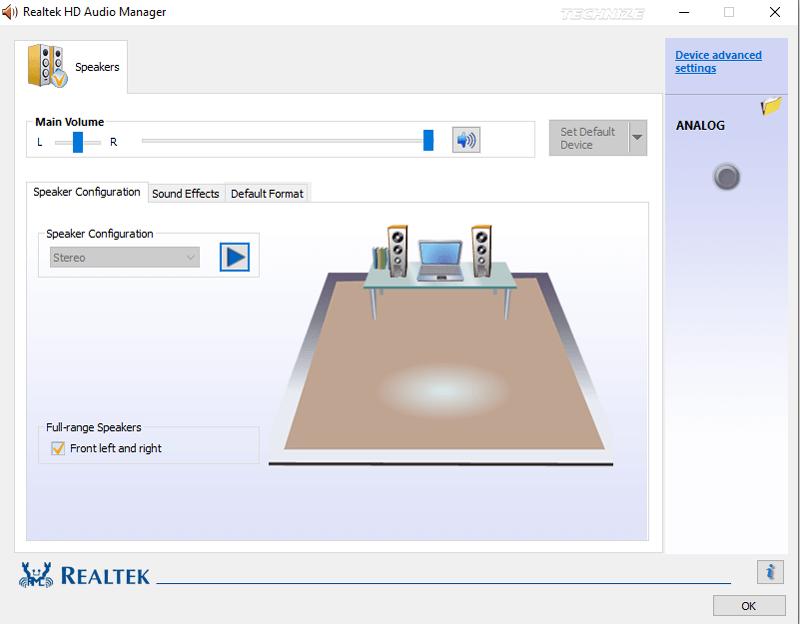Realtek audio manager