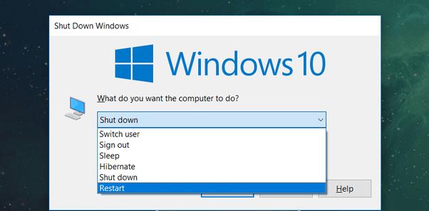 Reboot using Alt + F4 keys