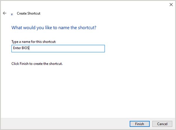 Renaming BIOS shortcut