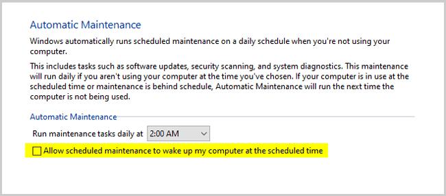 Scheduled maintenance to wake up my computer settings