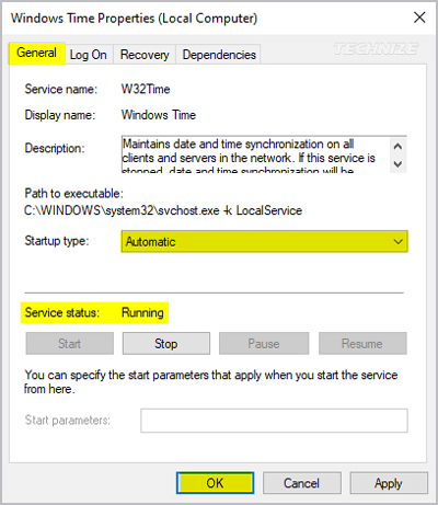 Services manager Windows time settings