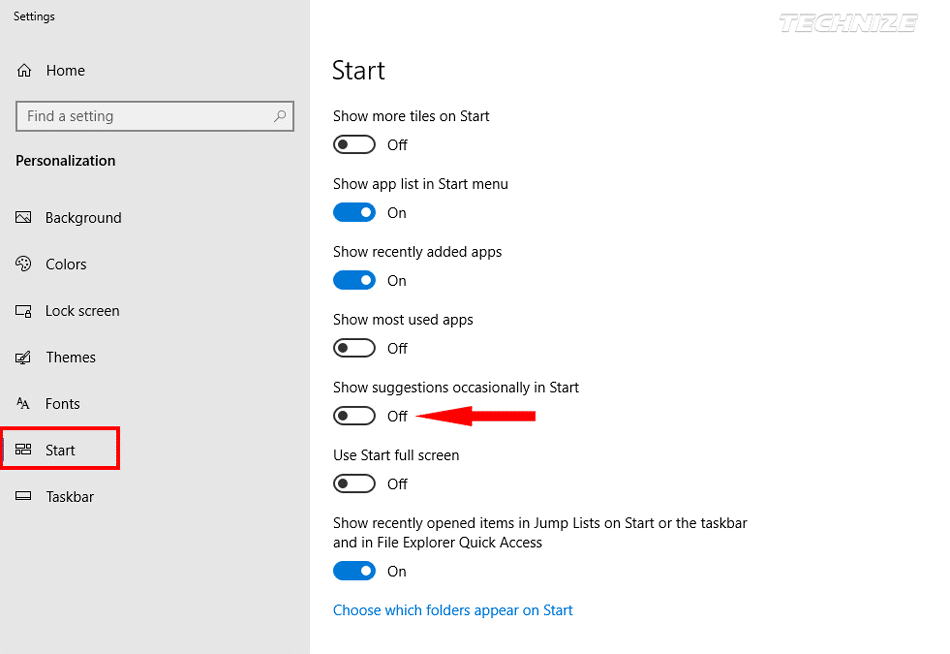 Show Suggestions Occasionally in Start