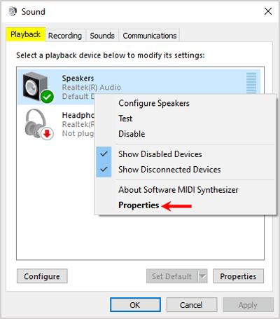 Sound control panel playback settings