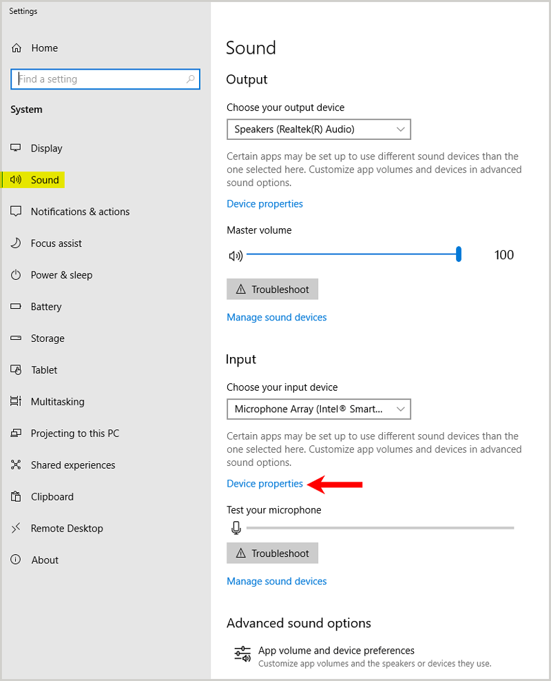 Sound device properties windows 10