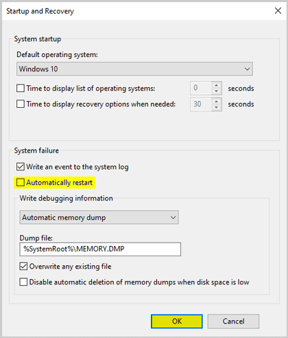 Startup and Recovery Settings