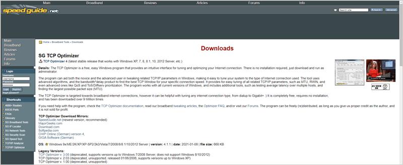 TCP Optimizer main