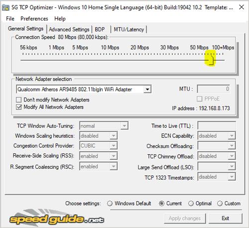 TCP Optimizer settings