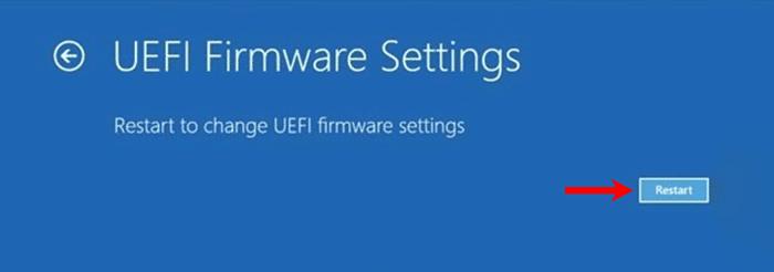 UEFI Firmware Settings Restart