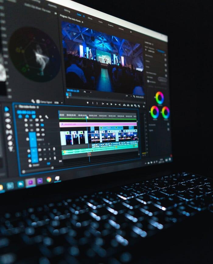 Video editing work on laptop