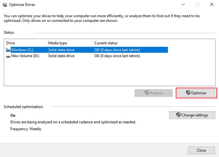 Windows 10 Defragmentation