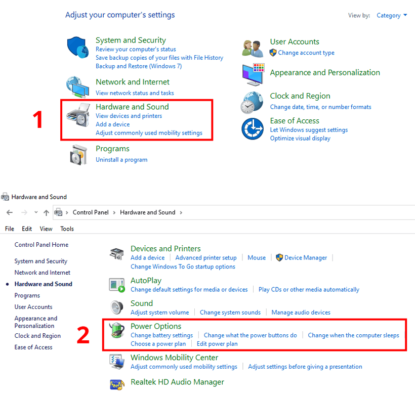 Windows 10 Power Options Category View