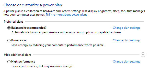 Windows 10 Power Options Menu