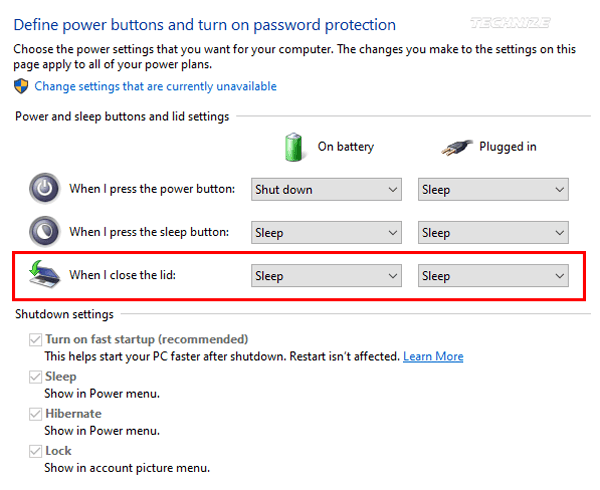 Windows 10 Power and sleep button and lid settings